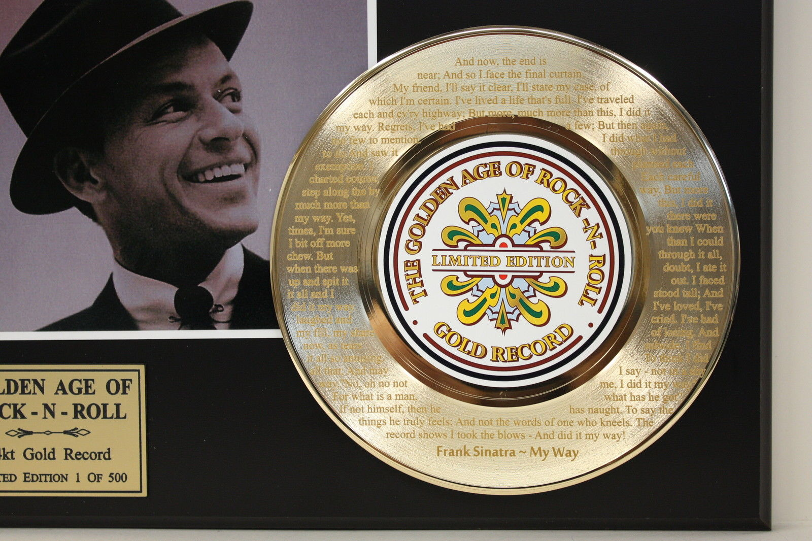 FRANK SINATRA MY WAY GOLD RECORD LTD EDITION LASER ETCHED WITH SONGS LYRIC 171369069740 3