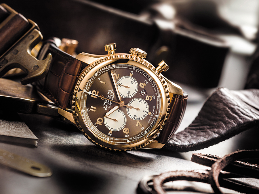 Navitimer 8 B01 in 18 k red gold with a bronze dial and a brown alligator leather strap