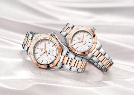 WAP2350.BD0838 AND WAP2150.BD0839 AQUARACER LADY AND GENTS AUTOMATIC PAIR WATCHES MOOD PACKSHOT 2013